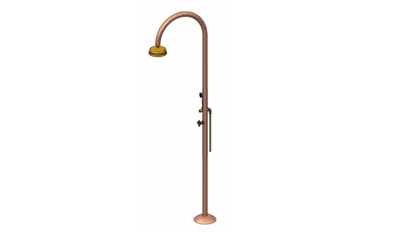 Outdoor Shower Company FTA-C50R-CHS Single Supply Copper Shower Unit