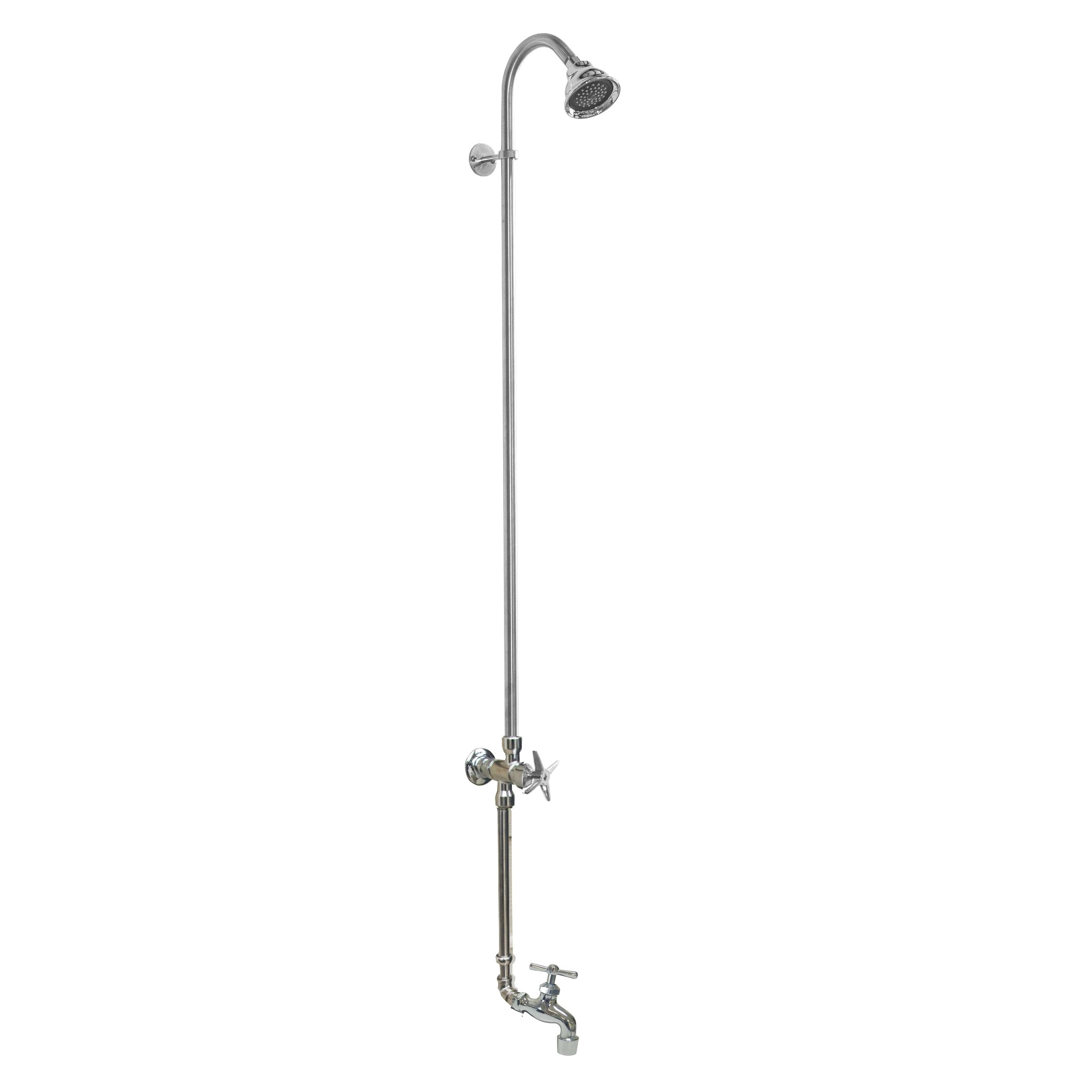 Outdoor Shower Company WM-442-CHV-HB Wall Mount Single Supply Shower