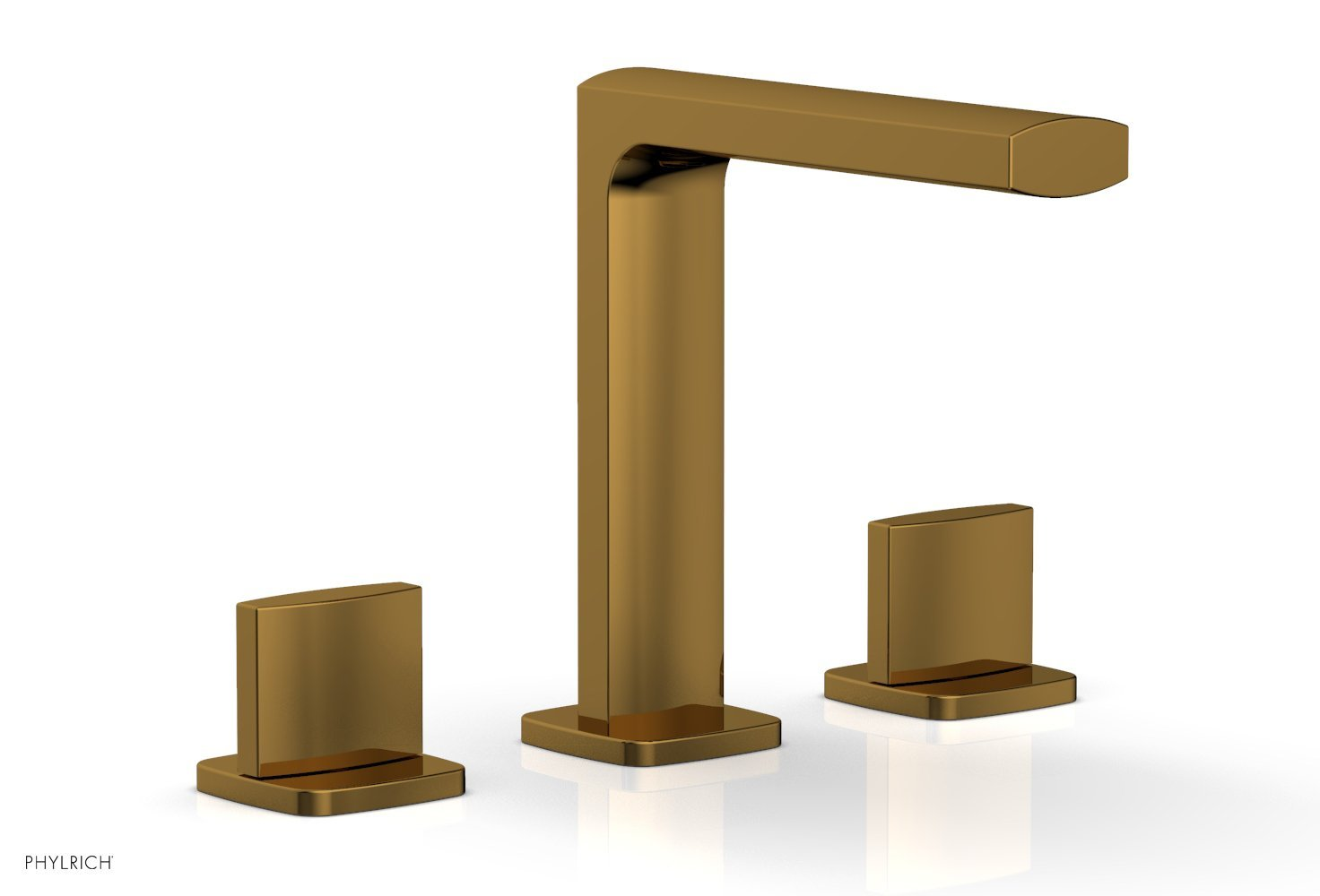 Phylrich 181-01-002 RADI Widespread Faucet - Blade Handle High Spout - French Brass