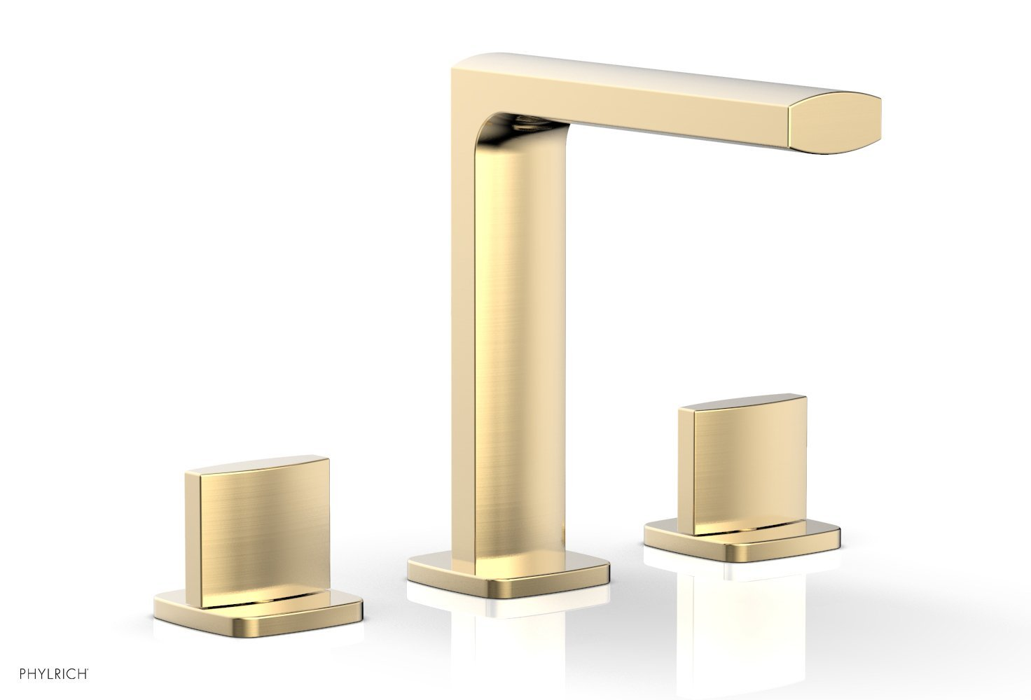 Phylrich 181-01-004 RADI Widespread Faucet - Blade Handle High Spout - Satin Brass