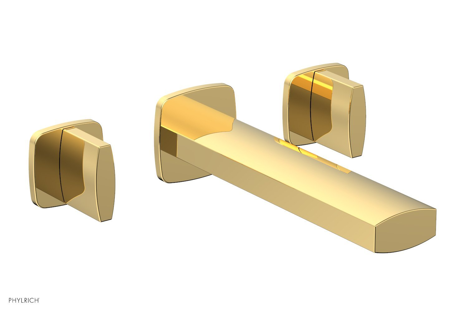 Phylrich 181-11-025 RADI Wall Lavatory Set - Blade Handles - Polished Gold