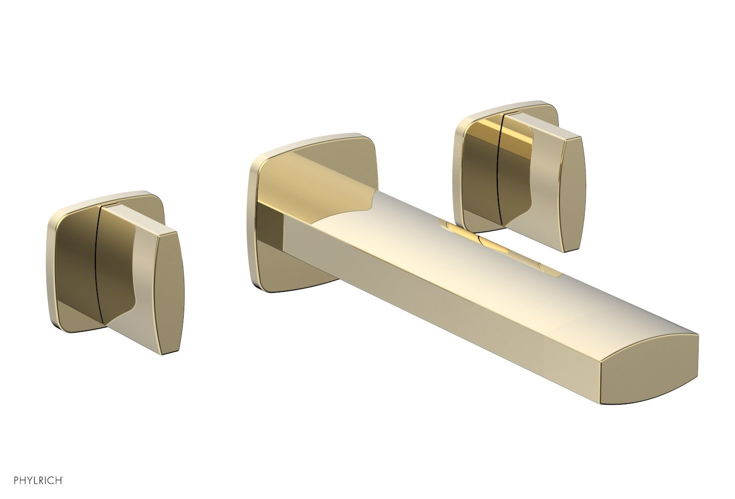 Phylrich 181-11-03U RADI Wall Lavatory Set - Blade Handles - Polished Brass Uncoated