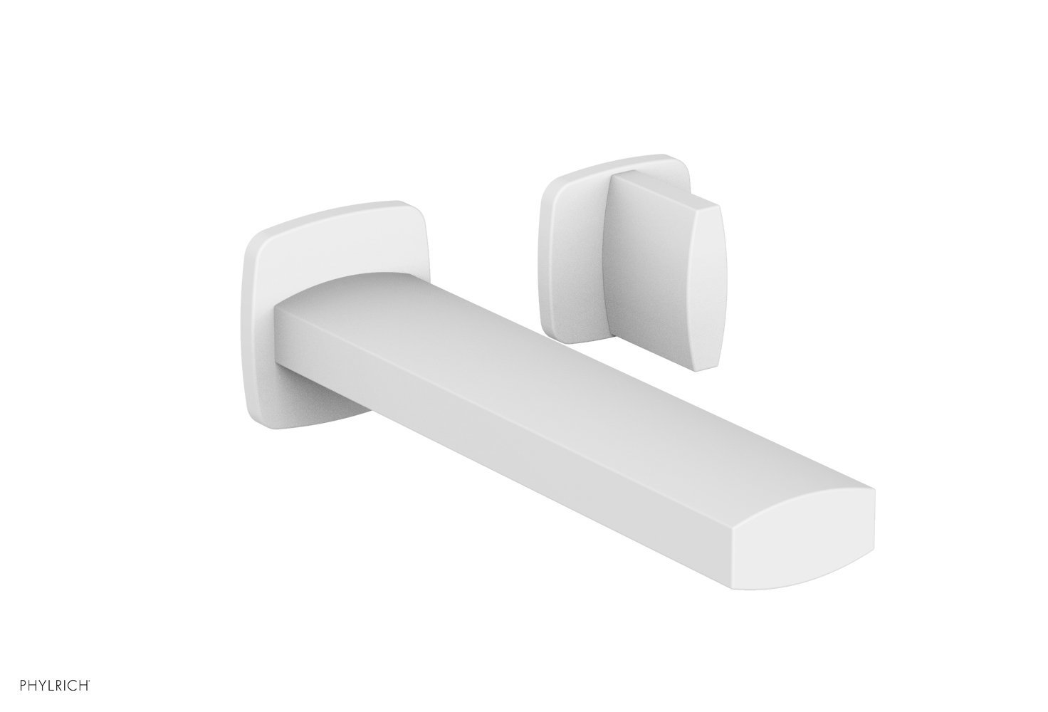 Phylrich 181-15-050 RADI Single Handle Wall Lavatory Set - Blade Handles - Satin White