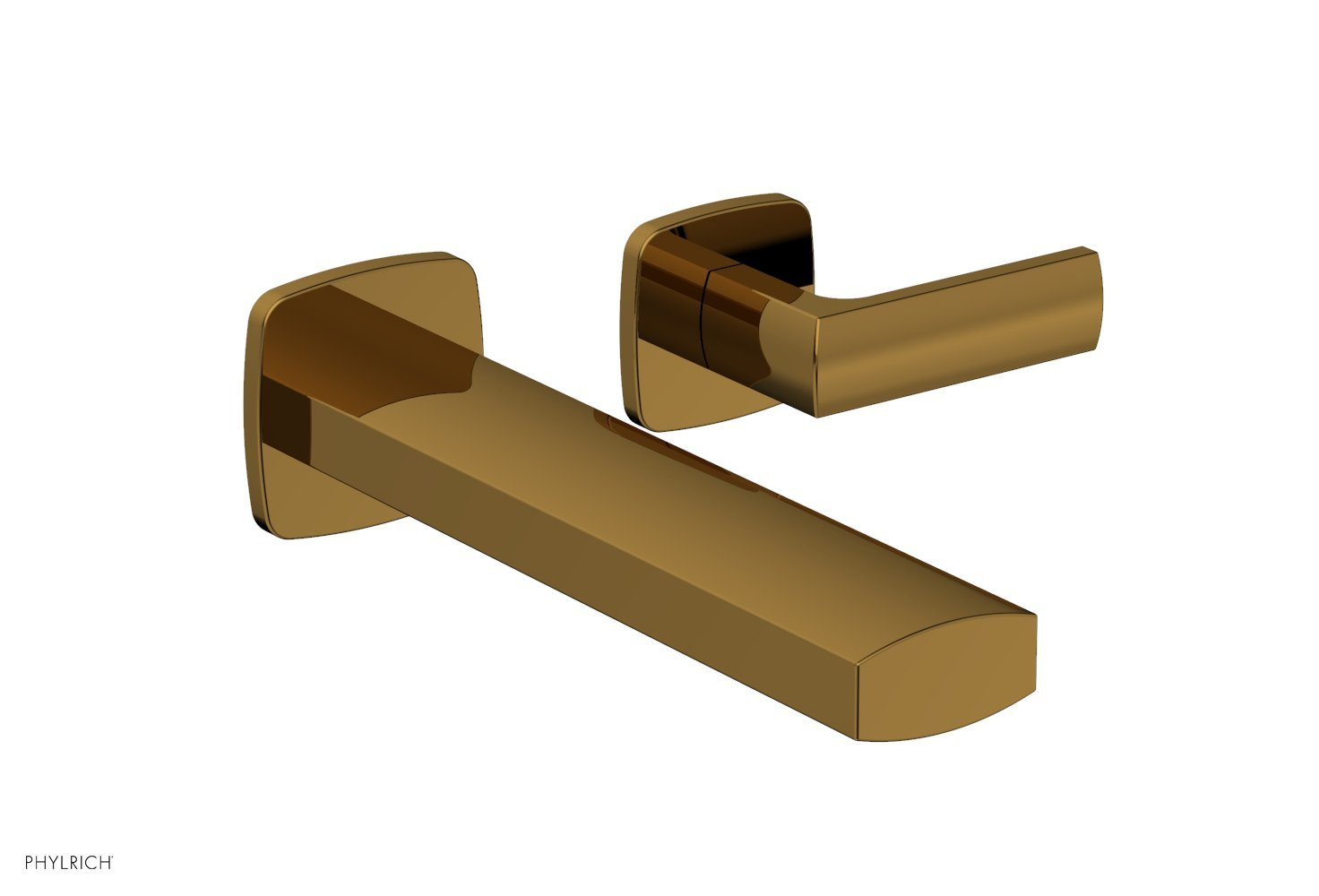 Phylrich 181-16-002 RADI Single Handle Wall Lavatory Set - Lever Handles - French Brass