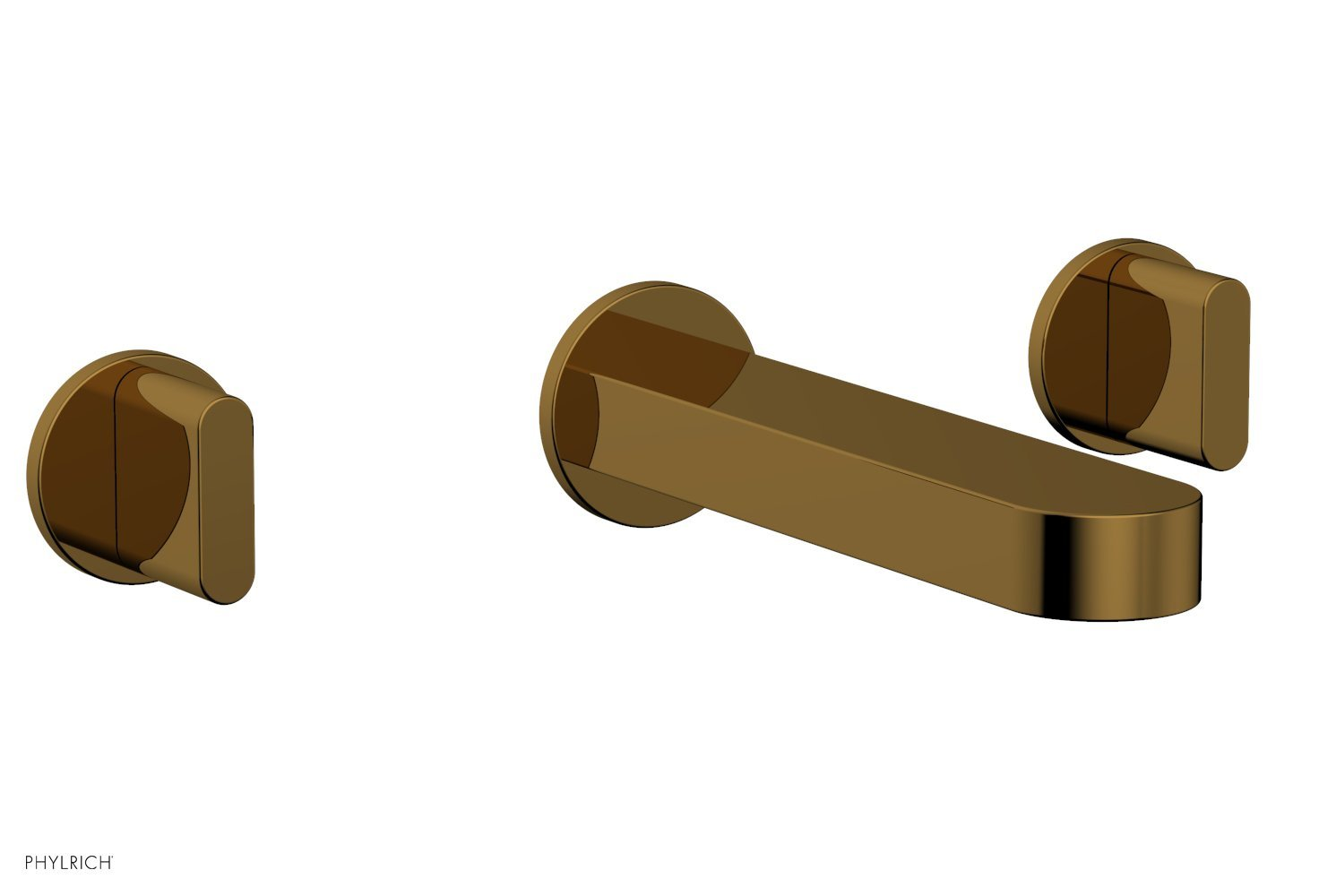 Phylrich 183-11-002 ROND Wall Lavatory Set - Blade Handles - French Brass