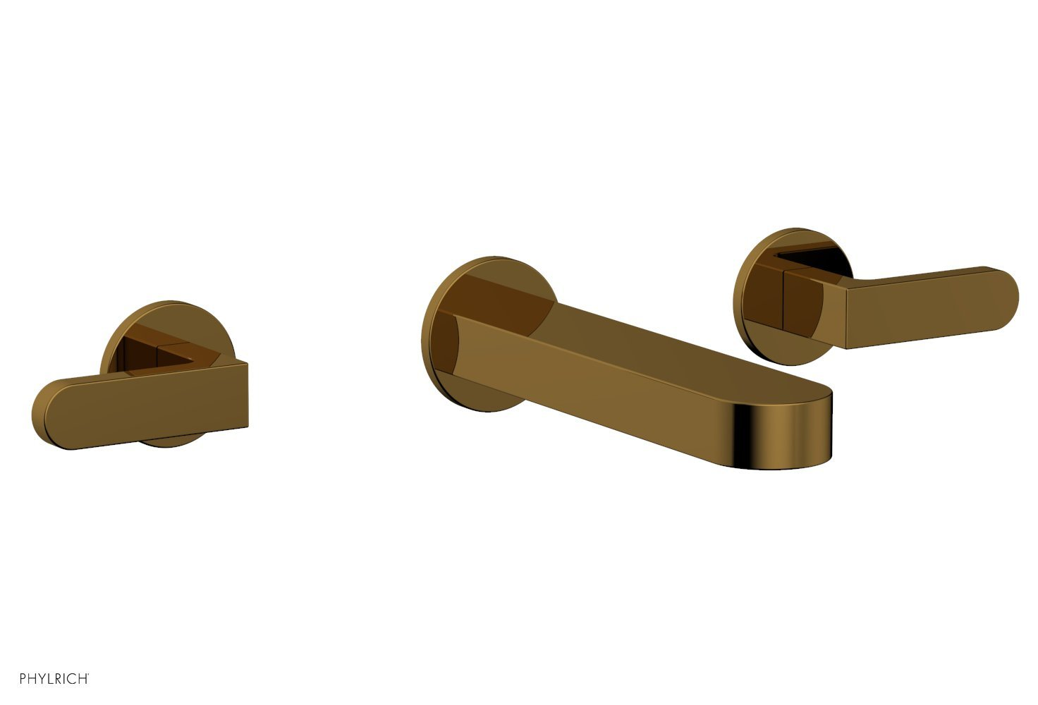 Phylrich 183-12-002 ROND Wall Lavatory Set - Lever Handles - French Brass