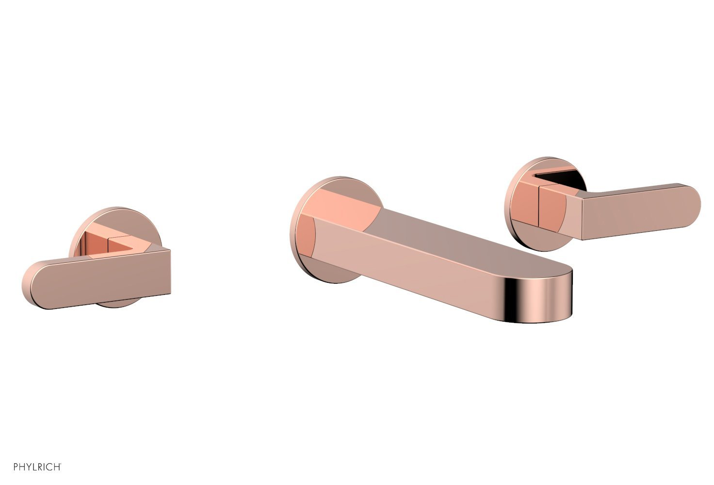 Phylrich 183-12-005 ROND Wall Lavatory Set - Lever Handles - Polished Copper