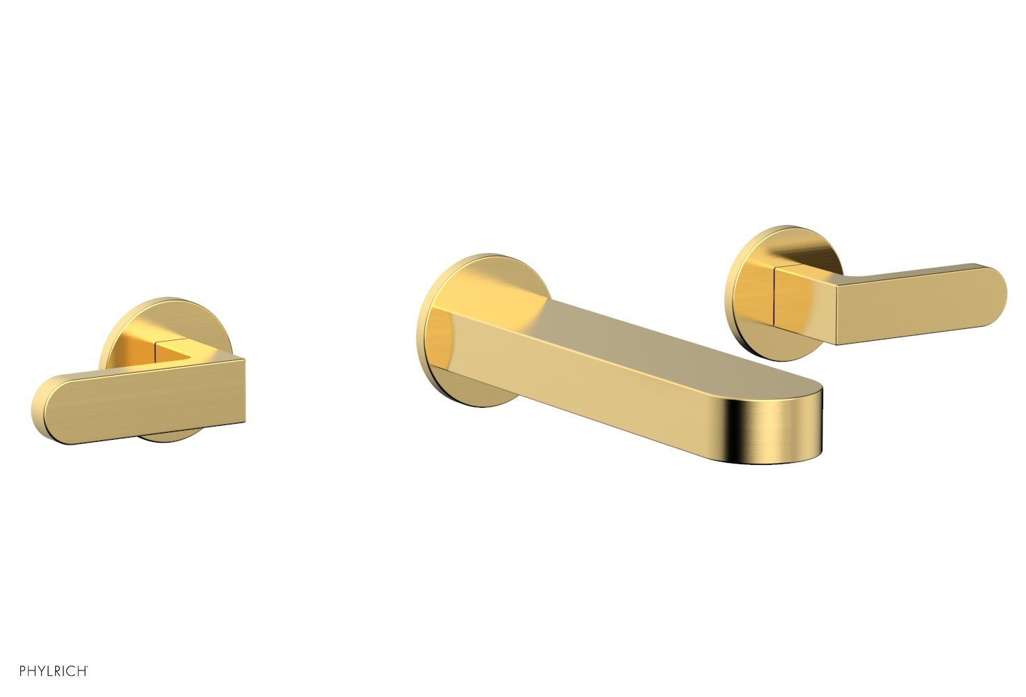 Phylrich 183-12-024 ROND Wall Lavatory Set - Lever Handles - Satin Gold