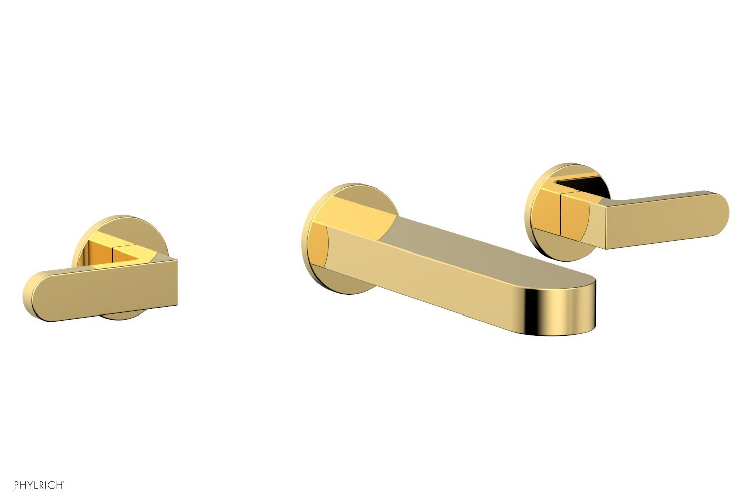Phylrich 183-12-025 ROND Wall Lavatory Set - Lever Handles - Polished Gold