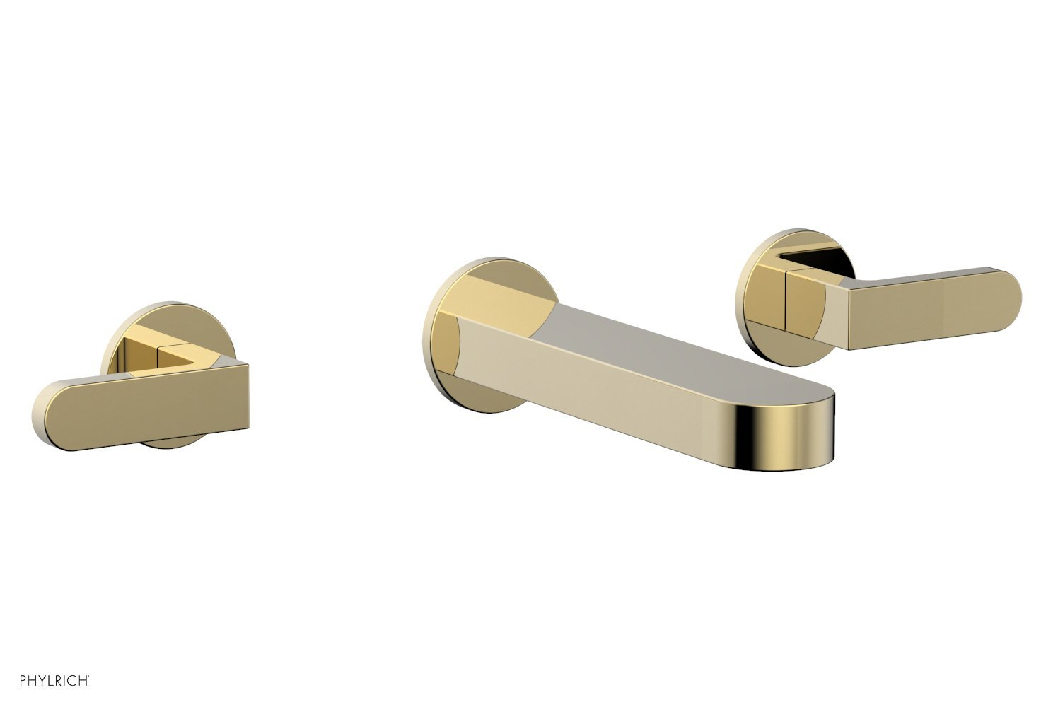 Phylrich 183-12-03U ROND Wall Lavatory Set - Lever Handles - Polished Brass Uncoated