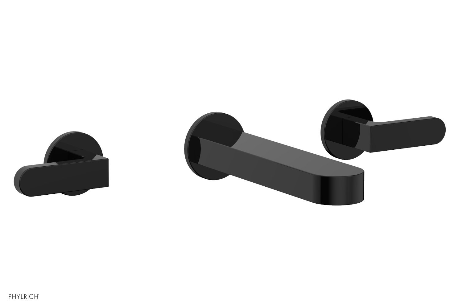 Phylrich 183-12-041 ROND Wall Lavatory Set - Lever Handles - Gloss Black