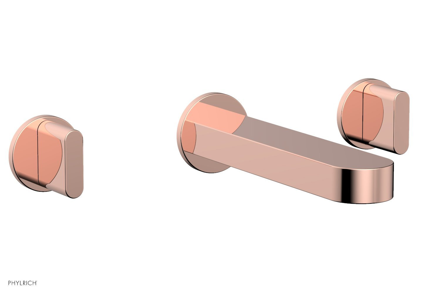 Phylrich 183-56-005 ROND Wall Tub Set - Blade Handles - Polished Copper