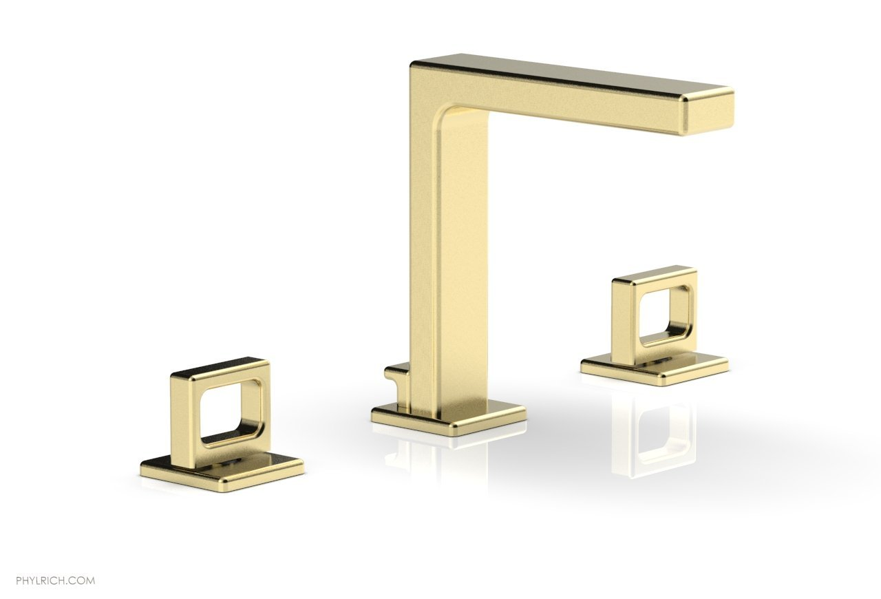 "Phylrich 290-03-03U MIX Widespread Faucet - Ring Handles 6-3/4"" Height - Polished Brass Uncoated"