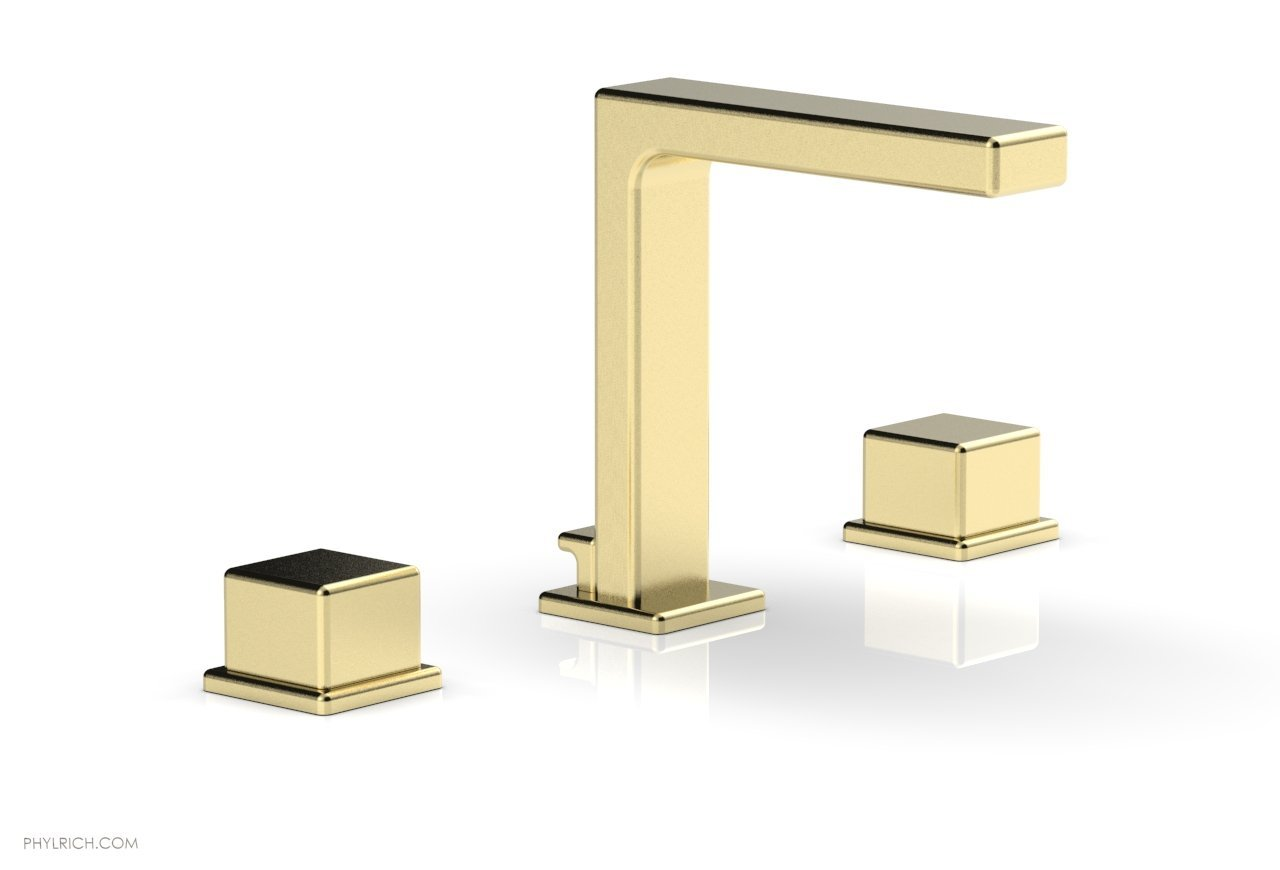 "Phylrich 290-04-03U MIX Widespread Faucet - Cube Handles 6-3/4"" Height - Polished Brass Uncoated"