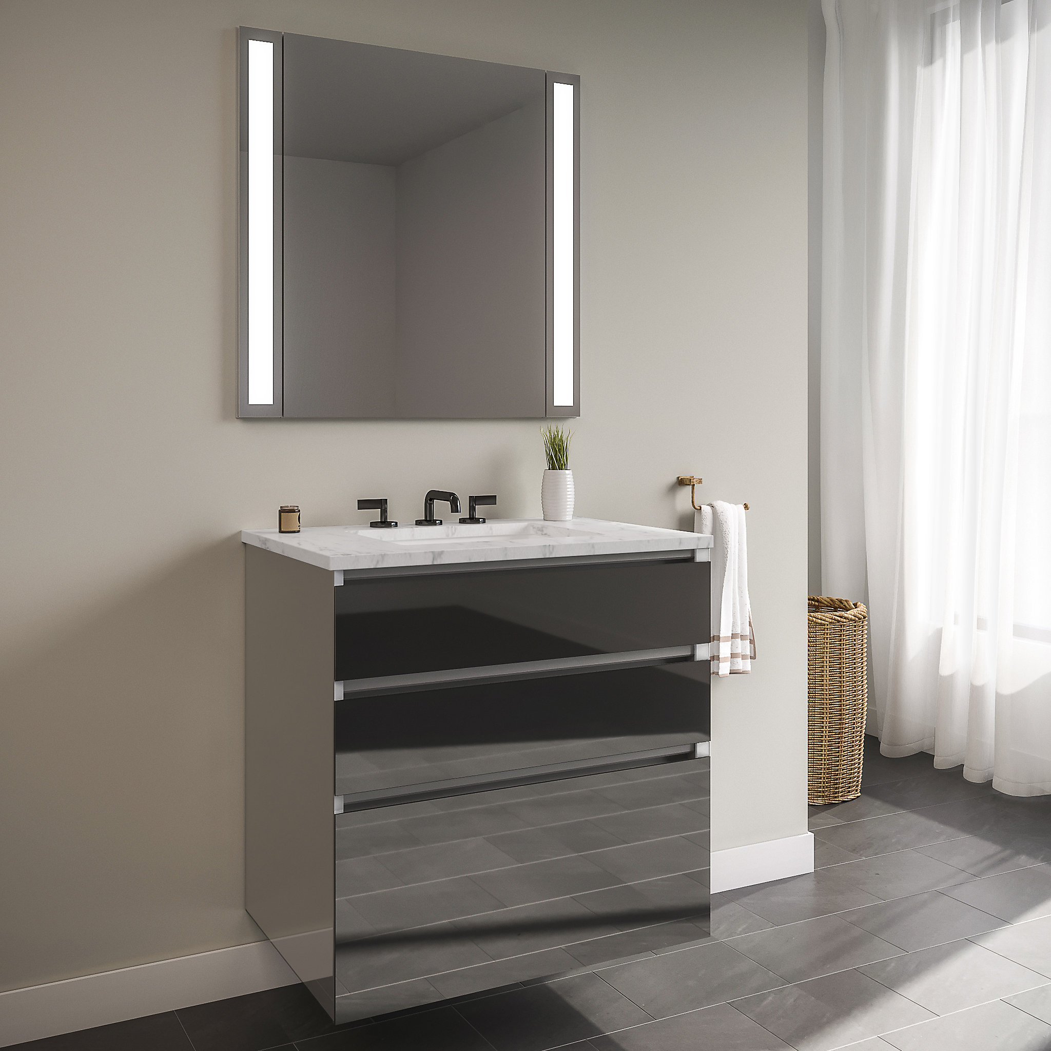 "Robern 24119400NB00003 Curated Cartesian Vanity, 24"" x 7-1/2"" x 21"", 24"" x 15"" x 21"", Three Drawer, Tinted Gray Mirror Glass, Ti"