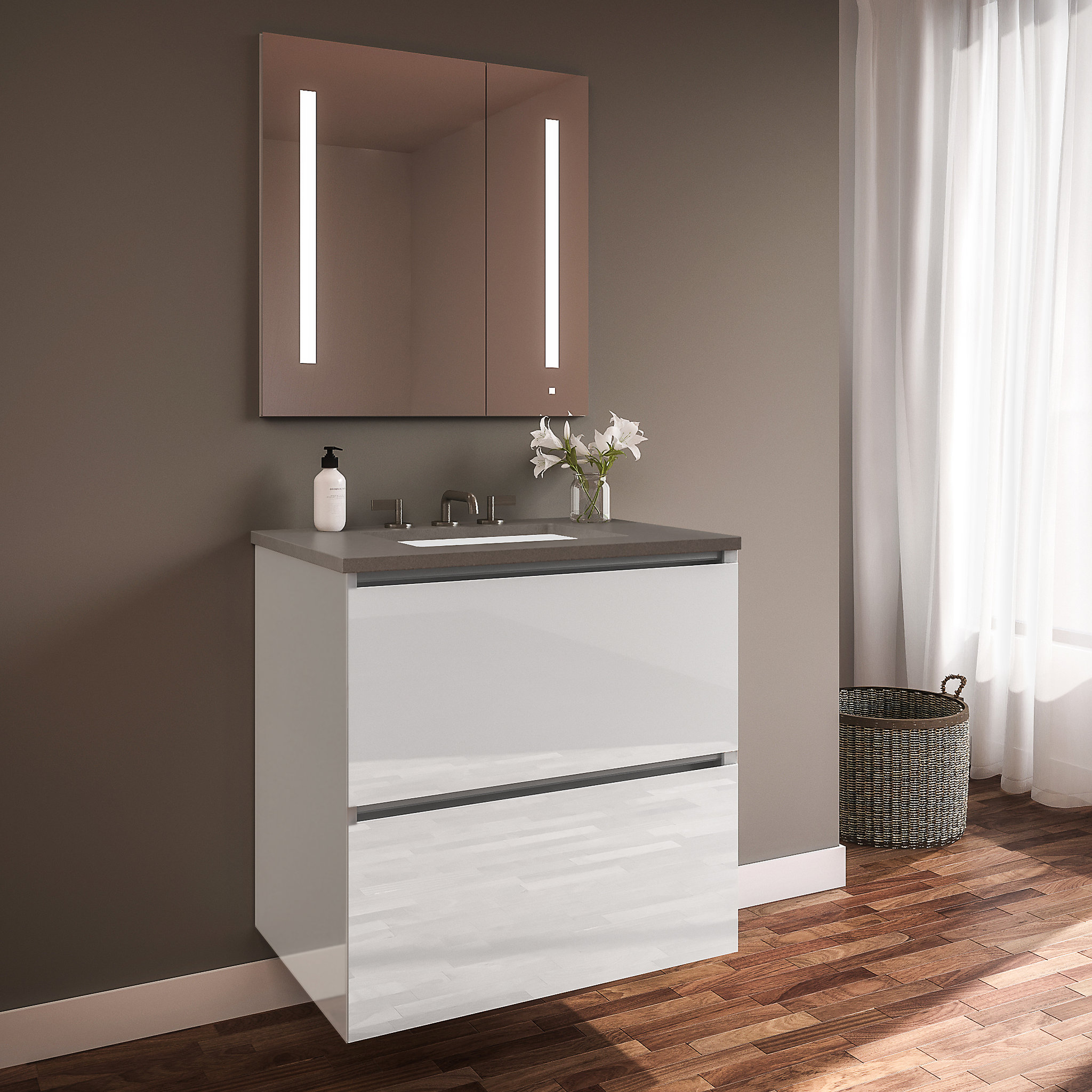 "Robern 24219100NB00002 Curated Cartesian Vanity, 24"" x 15"" x 21"", Two Drawer, White Glass, Plumbing Drawer, Full Drawer, Enginee"