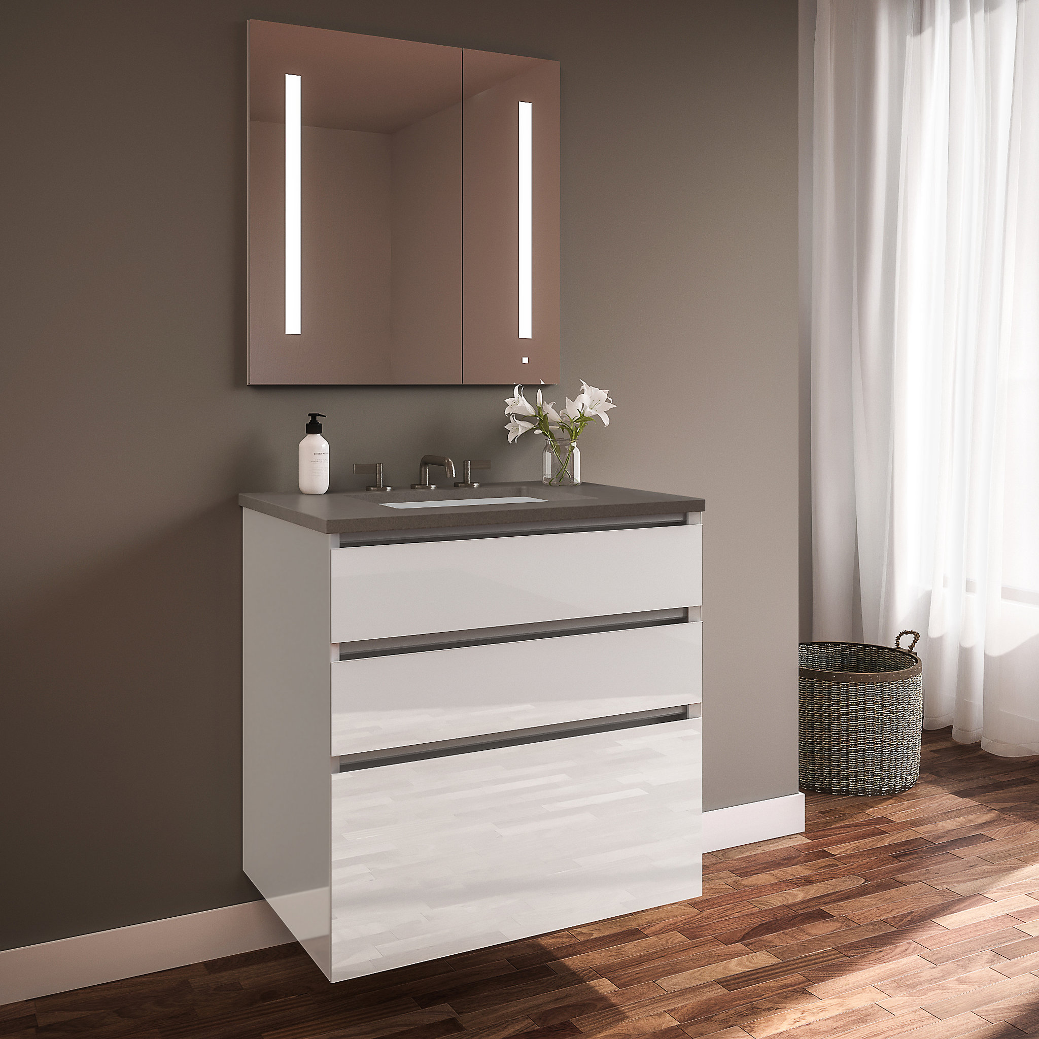 "Robern 24219100NB00003 Curated Cartesian Vanity, 24"" x 7-1/2"" x 21"", 24"" x 15"" x 21"", Three Drawer, White Glass, Tip Out Drawer,"