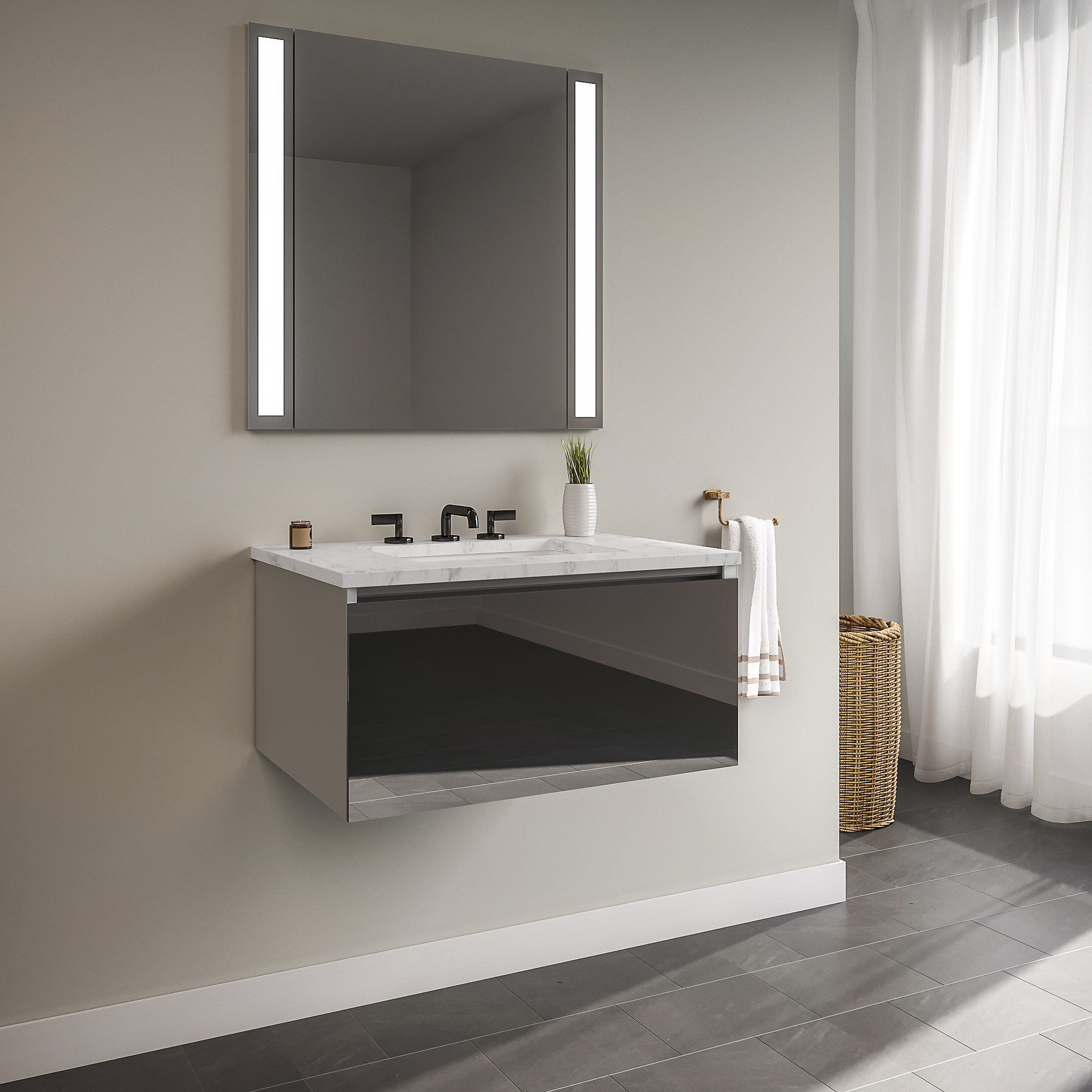"Robern 30119400NB00001 Curated Cartesian Vanity, 30"" x 15"" x 21"", Single Drawer, Tinted Gray Mirror Glass, Plumbing Drawer, Engi"