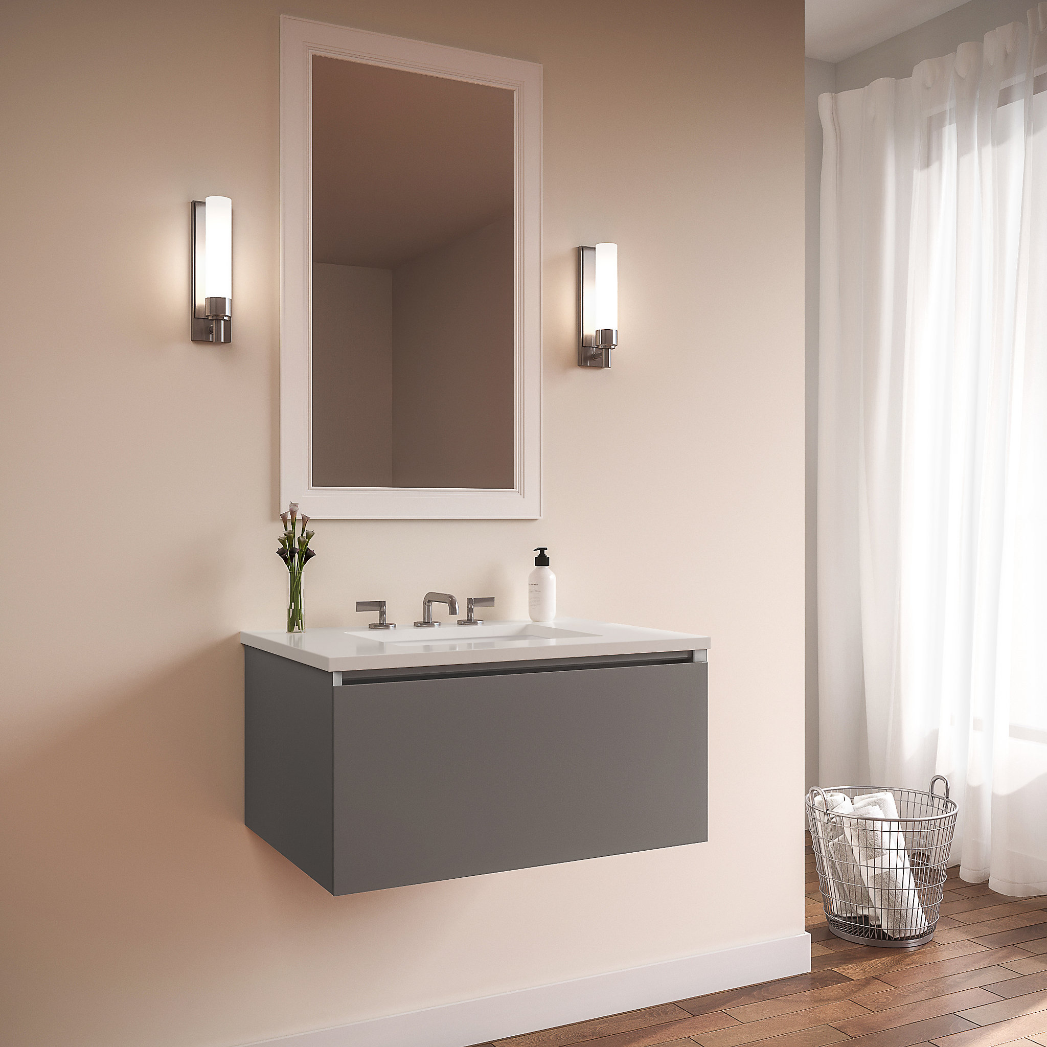 "Robern 30279200NB00001 Curated Cartesian Vanity, 30"" x 15"" x 21"", Single Drawer, Matte Gray Glass, Plumbing Drawer, Engineered S"