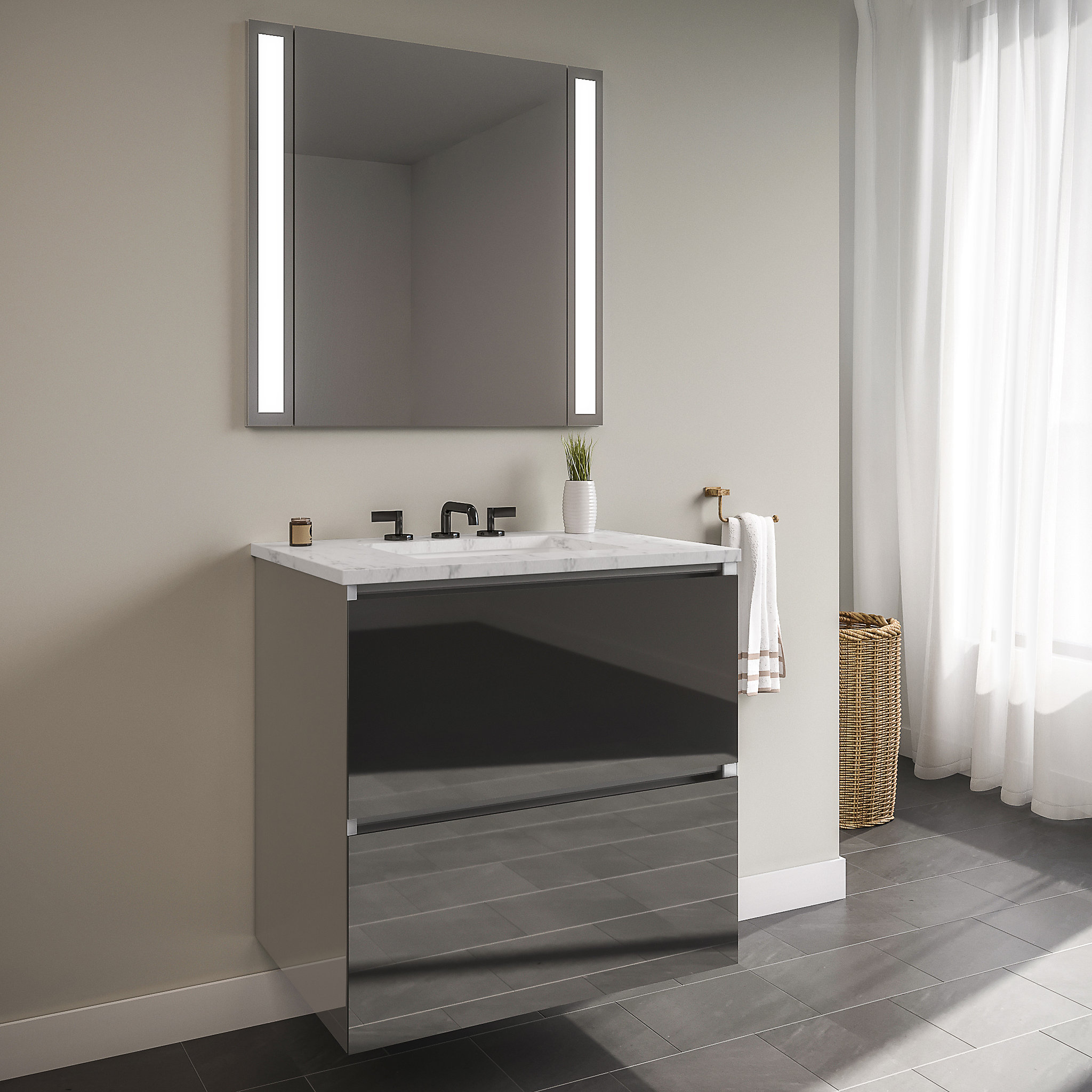 "Robern 36119400NB00002 Curated Cartesian Vanity, 36"" x 15"" x 21"", Two Drawer, Tinted Gray Mirror Glass, Plumbing Drawer, Full Dr"