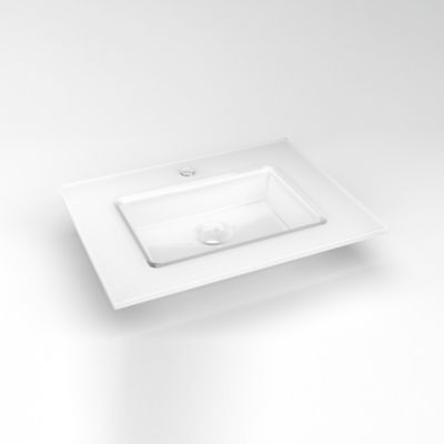 "Robern TC25UCN21-1 Glass Vanity Top, 25"" x 19"" x 19/32"", Center Integrated Sink, Single Hole, White"