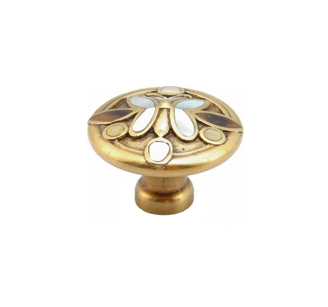 Schaub 960K Heirloom Knob - Polished Brass and Antique Brass