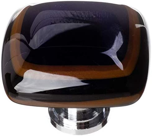 "Sietto K-101-PC Stratum Woodland & Black 1 1/4"" Knob - Polished Chrome"