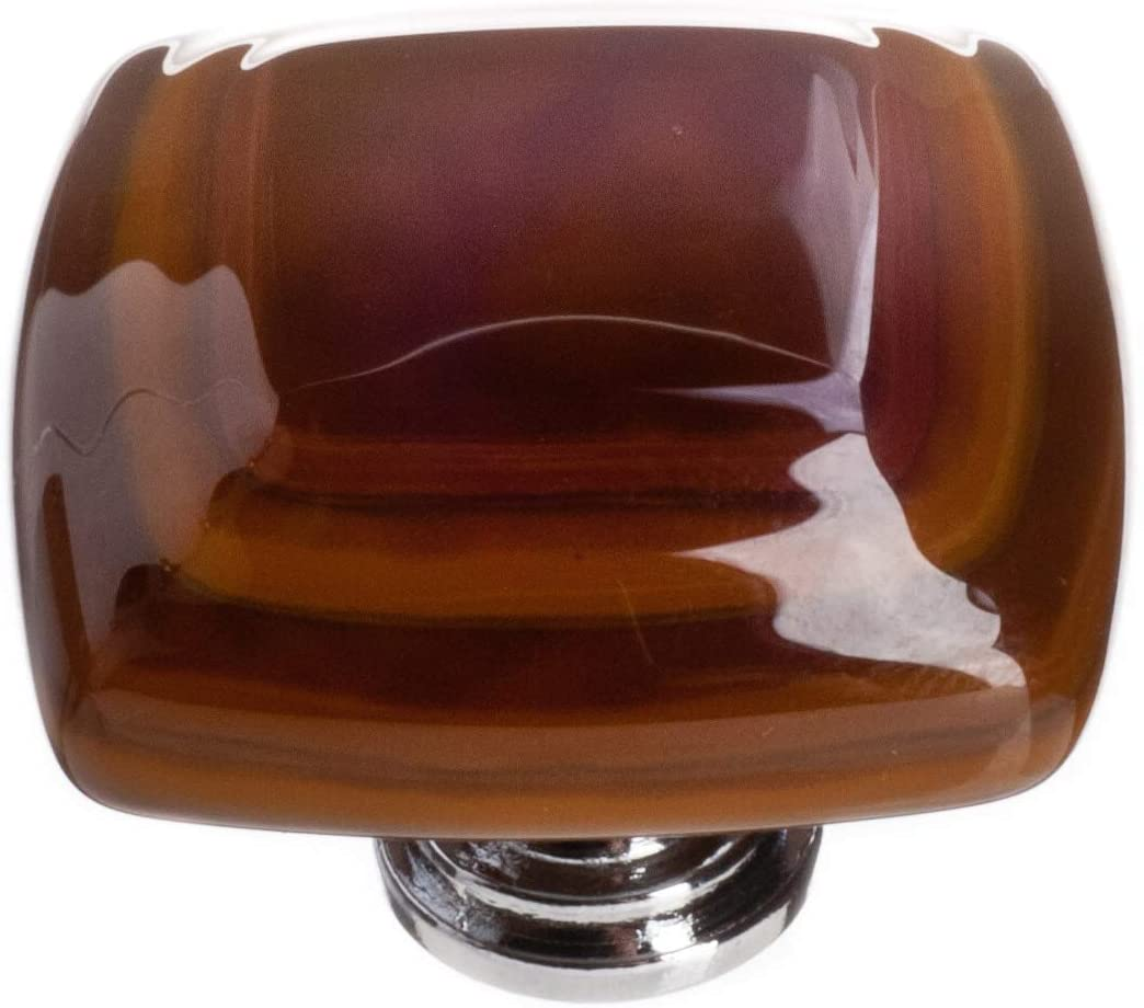 "Sietto K-102-PC Stratum Woodland & Umber 1 1/4"" Knob - Polished Chrome"