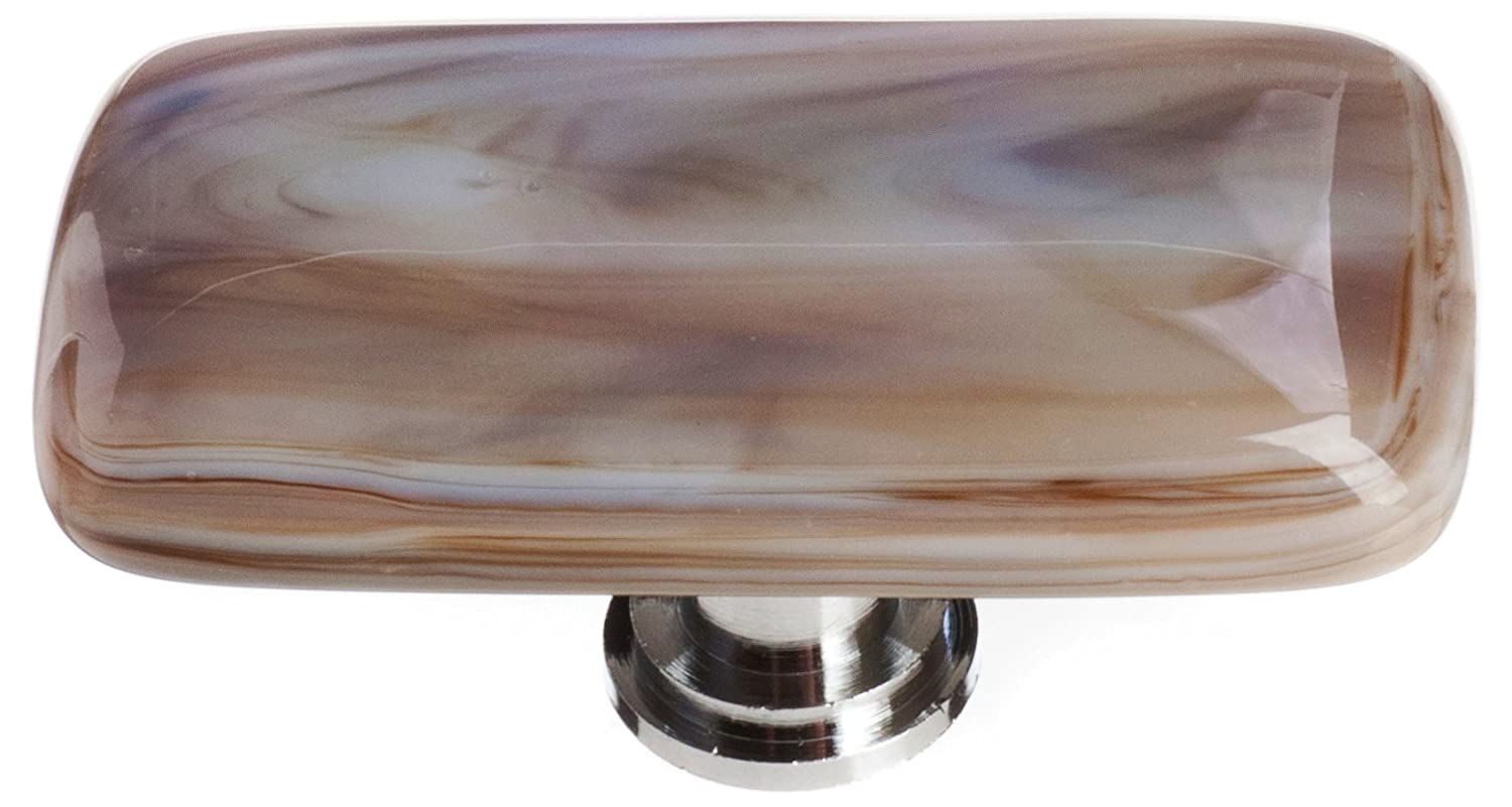 "Sietto LK-305-PC Cirrus White With Brown 2"" Long Knob - Polished Chrome"