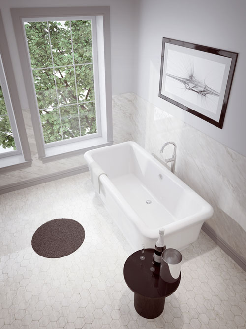 "Slik Portfolio 60FS33-A Merit 5 Feet Freestanding Bathtub with Apurity Air System in White - 60"" x 33"""