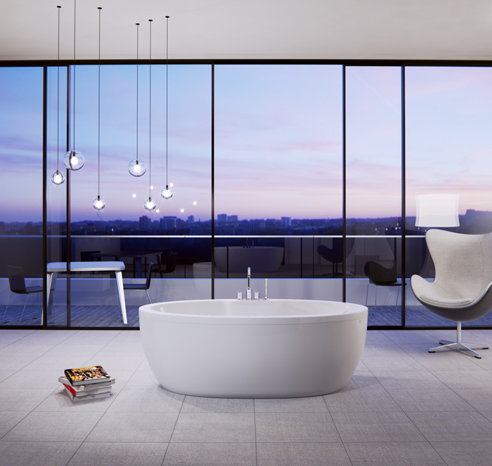 "Slik Portfolio 67FS33-A Wave 5.5 Feet Freestanding Bathtub with Apurity Air System in White - 67"" x 33"""