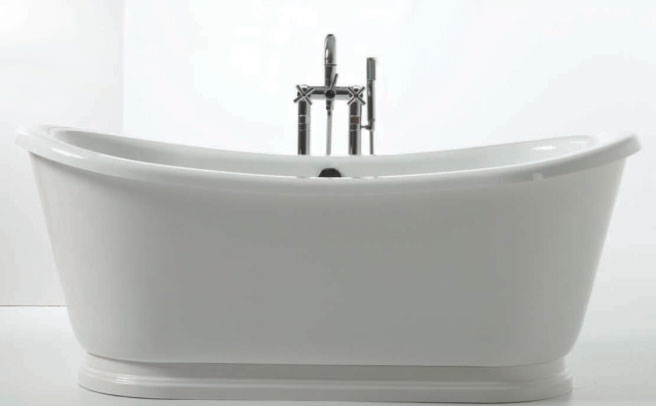 "Slik Portfolio 69FS32-P Solano 5.5 Feet Freestanding Bathtub with Decorative Base and Breeze Air System in White - 68"" x 32"""