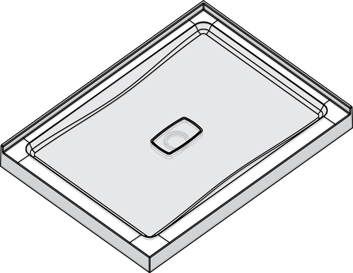 "Slik Portfolio A48SB32-2L Soho 48"" x 32"" Corner Shower Base with Low Threshold"