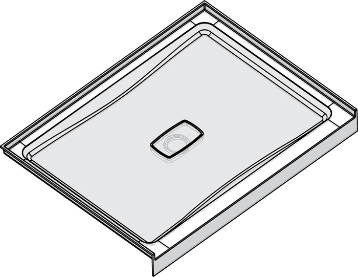 "Slik Portfolio A48SB34 Soho 48"" x 34"" Alcove Shower Base with Low Threshold"