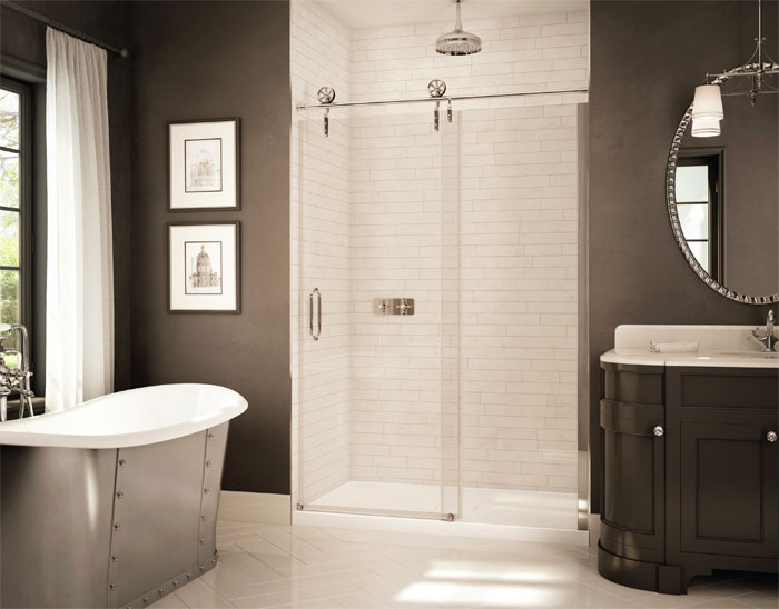 "Slik Portfolio TMS-48-11-6 Times 48"" Alcove Shower Door with Polished Nickel Hardware"