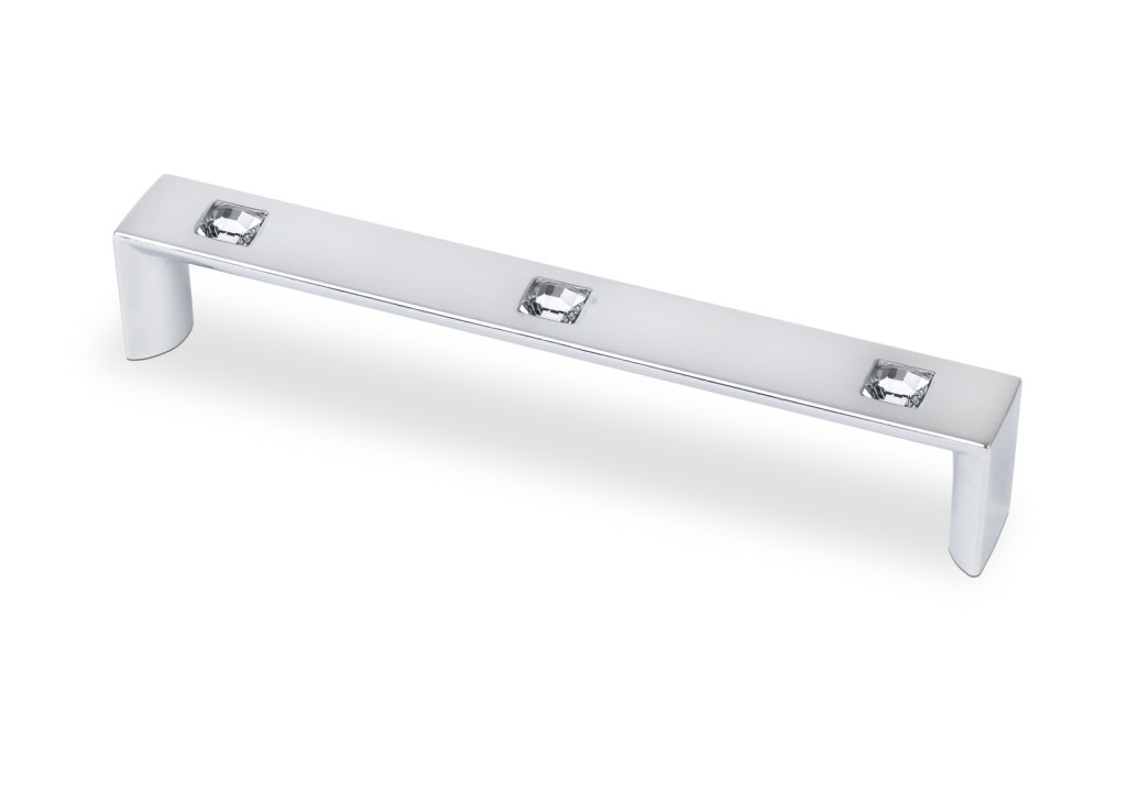 "Topex Hardware M1866A160CRLSWA Rectangular Pull 6.29"" (C-C) with 3 Crystals - Chrome"