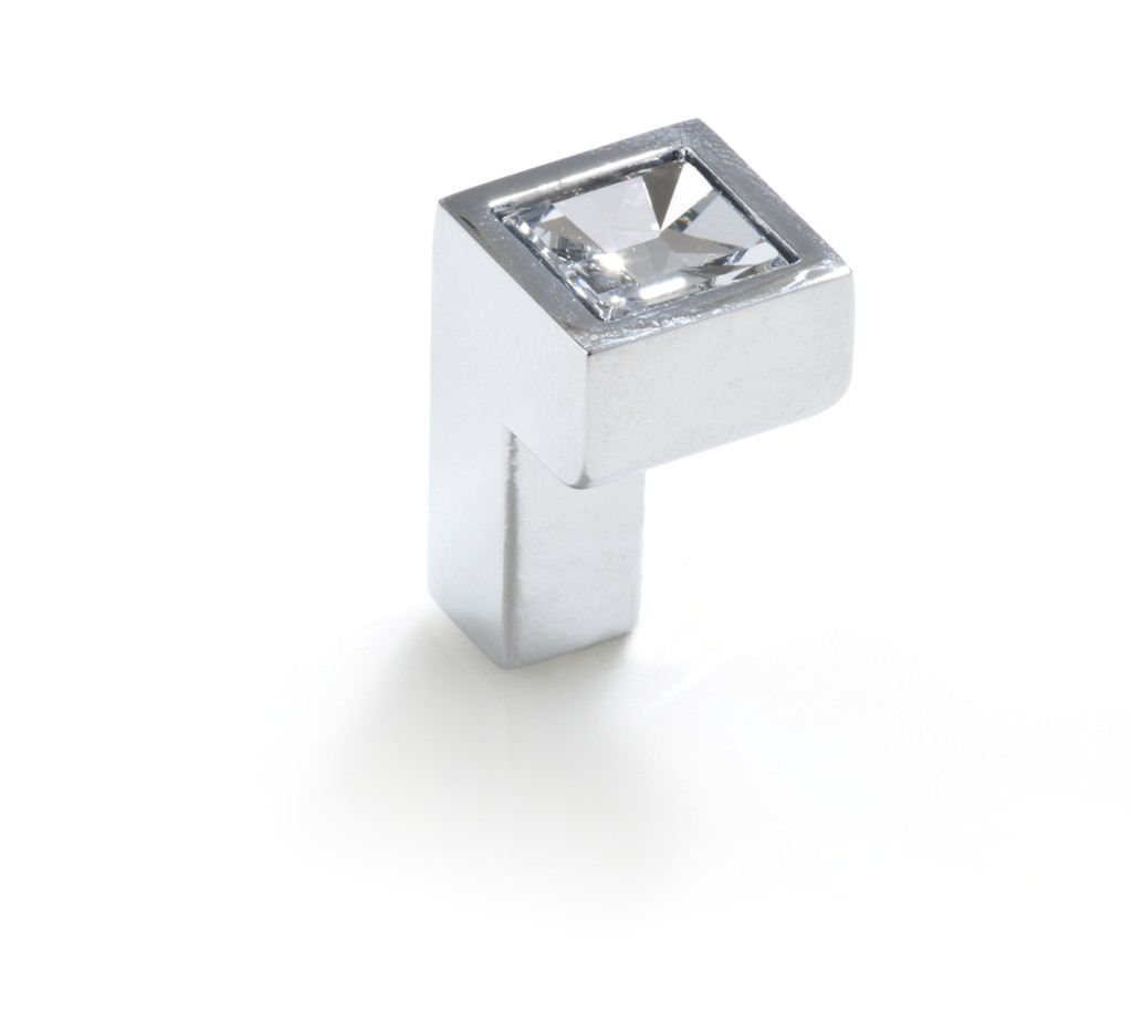 Topex Hardware P2044CRLSWA Small Square Swarovski Crystal Knob - Chrome