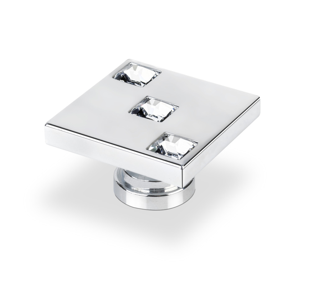 Topex Hardware P2052CRLSWA Square Knob with 3 Swarovski Crystals - Chrome