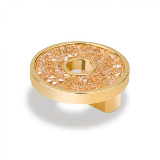 Topex Hardware P2084.33ORZSWA Small Round Knob with Hole Swarovski Crystal - Gold