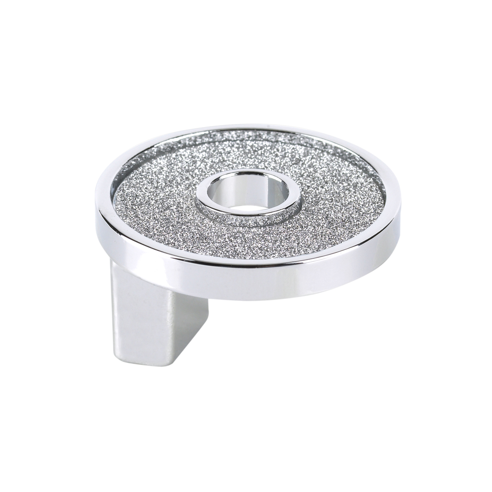 Topex Hardware P2906.33CRLSIL Small Round Knob with Hole Sparkling Swarovski Crystal - Chrome