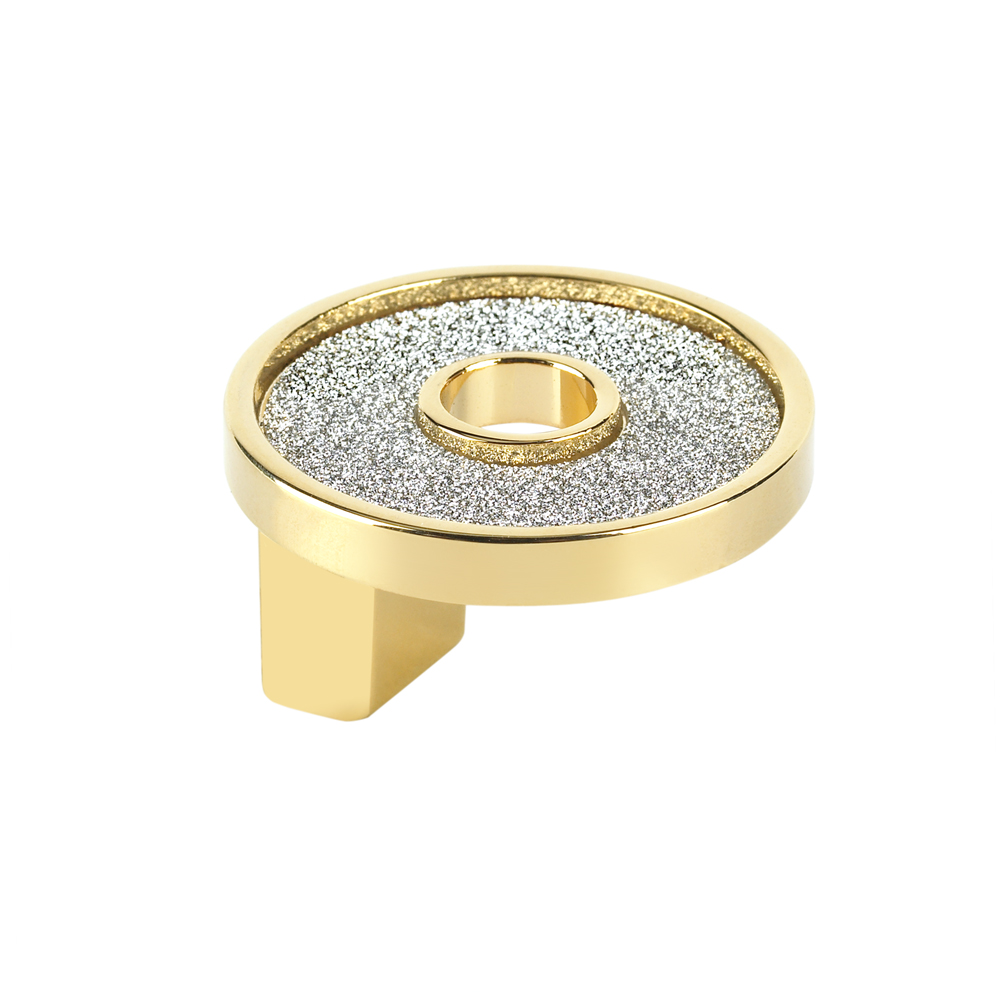 Topex Hardware P2906.33ORZSIL Small Round Knob with Hole Sparkling Swarovski Crystal - Gold